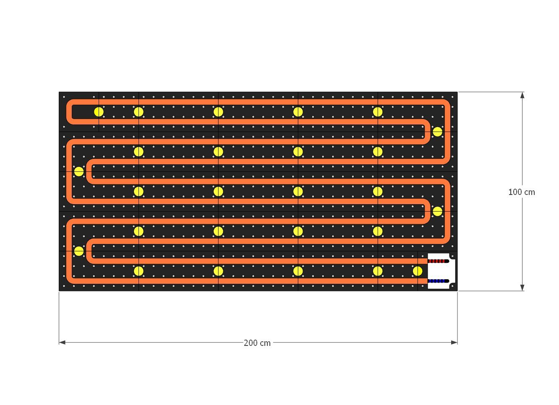 schema moduli attivi Pannello Radiante a Parete POP-ART